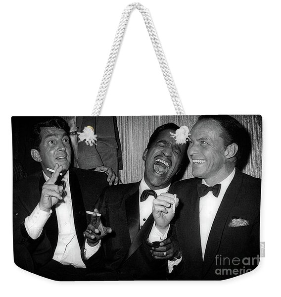 Dean Martin, Sammy Davis Jr. And Frank Sinatra Laughing Weekender Tote Bag