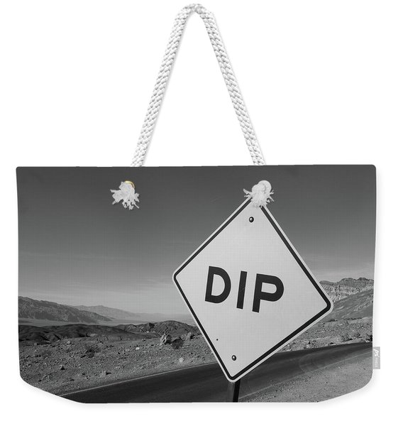 Weekender Tote Bag featuring the photograph Death Valley Roadsign by Frank DiMarco