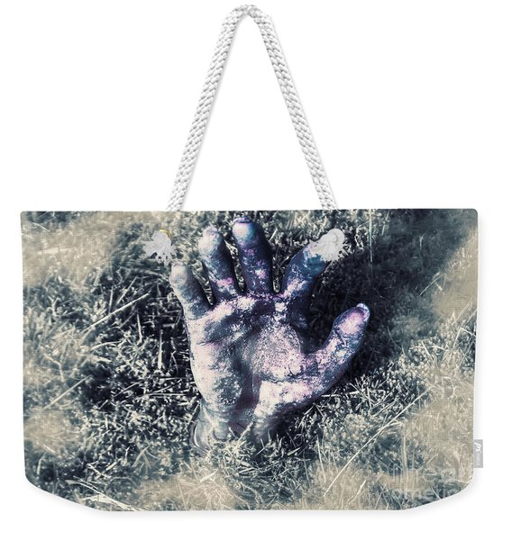 Decaying Zombie Hand Emerging From Ground Weekender Tote Bag