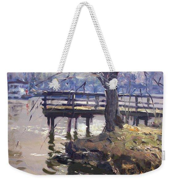 Deck At Tonawanda Canal Weekender Tote Bag