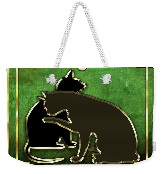 Deco Cats - Emerald Weekender Tote Bag