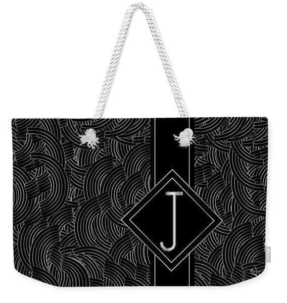 Deco Jazz Swing Monogram ...letter J Weekender Tote Bag