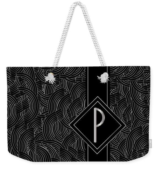 Deco Jazz Swing Monogram ...letter P Weekender Tote Bag