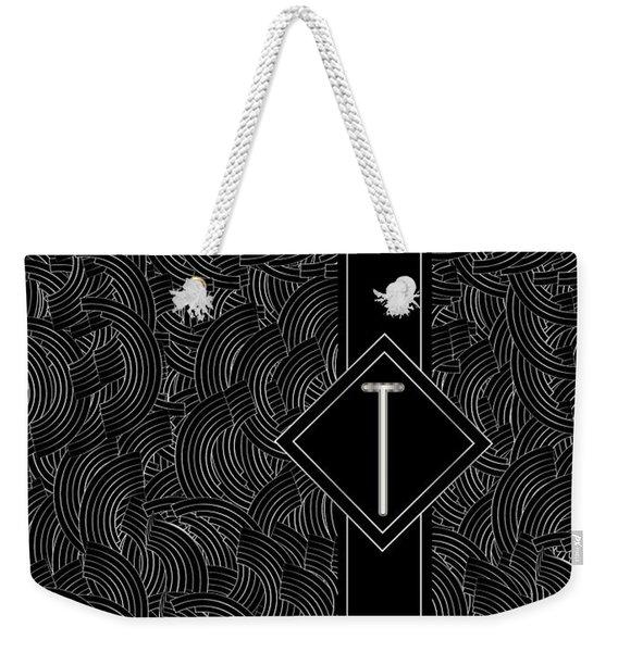 Deco Jazz Swing Monogram ...letter T Weekender Tote Bag