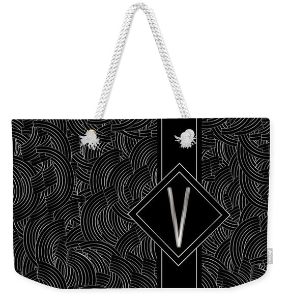Deco Jazz Swing Monogram ...letter V Weekender Tote Bag