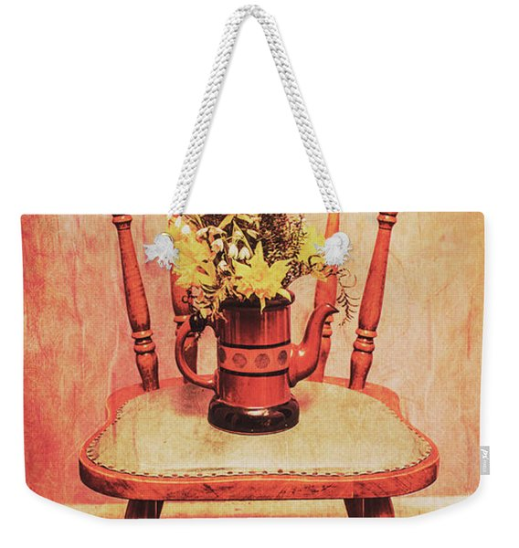 Decorated Flower Bunch On Old Wooden Chair Weekender Tote Bag
