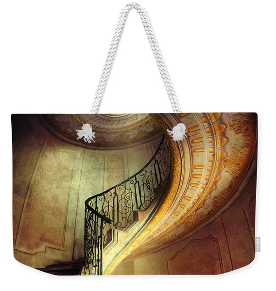 Weekender Tote Bag featuring the photograph Decorated Spiral Staircase  by Jaroslaw Blaminsky