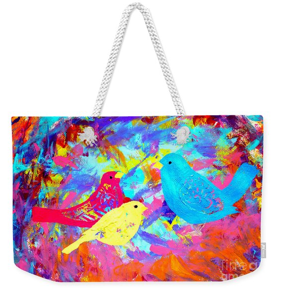 Weekender Tote Bag featuring the painting Decorative Birds D132016 by Mas Art Studio
