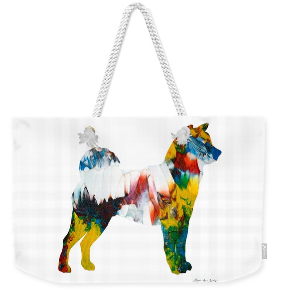 Weekender Tote Bag featuring the painting Decorative Husky Abstract O1015m by Mas Art Studio