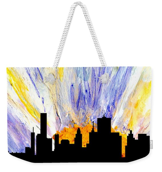 Weekender Tote Bag featuring the painting Decorative Skyline Abstract  Houston T1115v1 by Mas Art Studio