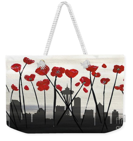 Weekender Tote Bag featuring the painting Decorative Skyline Abstract  Seattle T1115x1 by Mas Art Studio