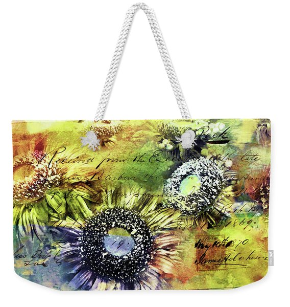 Weekender Tote Bag featuring the painting Decorative Sunflowers Mixed Media A772016  by Mas Art Studio