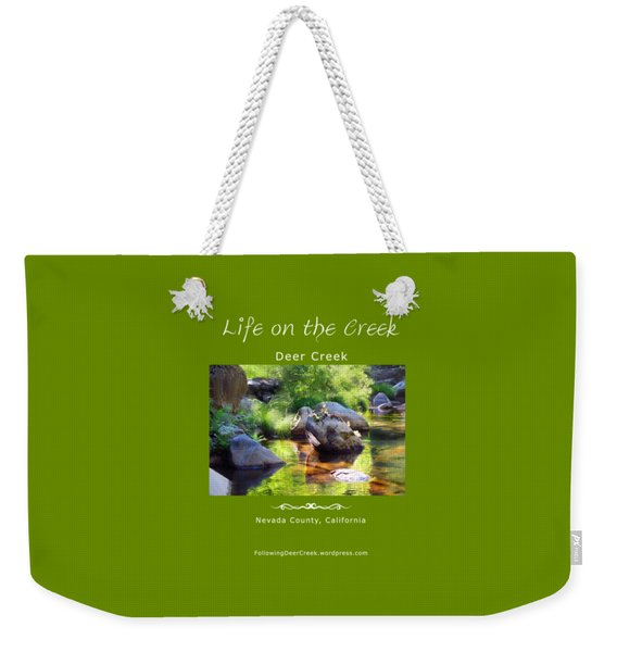 Deer Creek Ferns - White Text Weekender Tote Bag