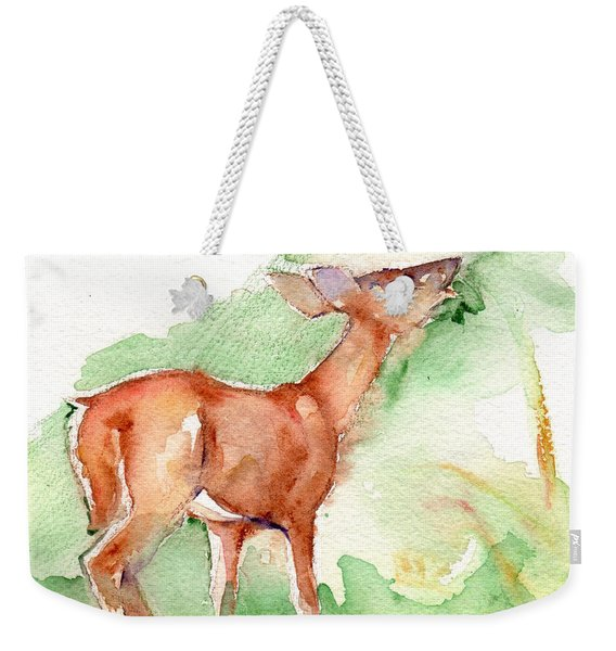 Deer Painting In Watercolor Weekender Tote Bag