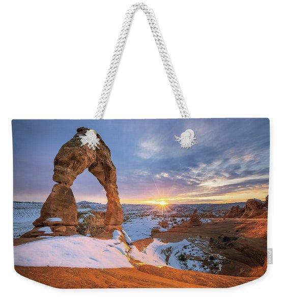 Delicate Arch Winter Weekender Tote Bag