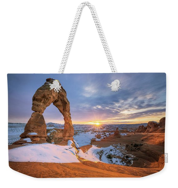 Delicate Arch Winter Weekender Tote Bag