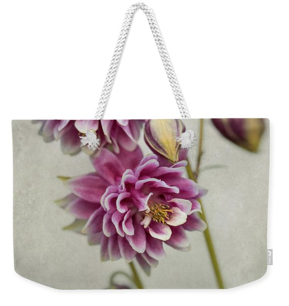 Weekender Tote Bag featuring the photograph Delicate Pink Columbine by Jaroslaw Blaminsky