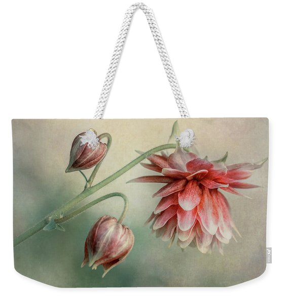 Weekender Tote Bag featuring the photograph Delicate Red Columbine by Jaroslaw Blaminsky