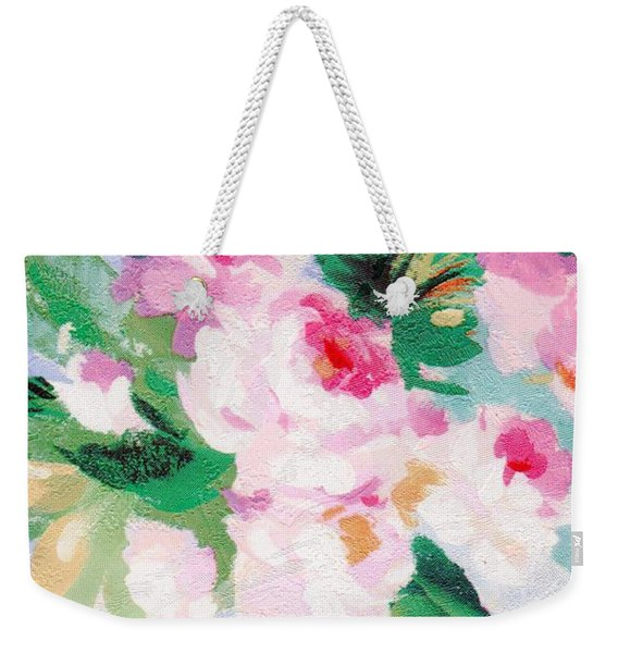 Weekender Tote Bag featuring the mixed media Delicate by Writermore Arts