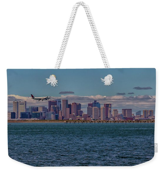 Delta Airlines Lands In Boston Weekender Tote Bag