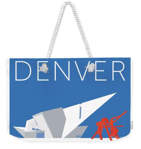 Weekender Tote Bag featuring the digital art Denver Art Museum/blue by Sam Brennan