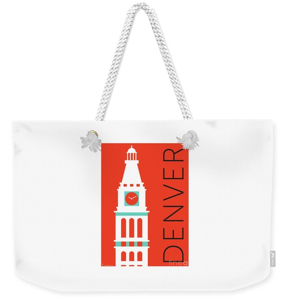 Weekender Tote Bag featuring the digital art Denver D And F Tower/orange by Sam Brennan