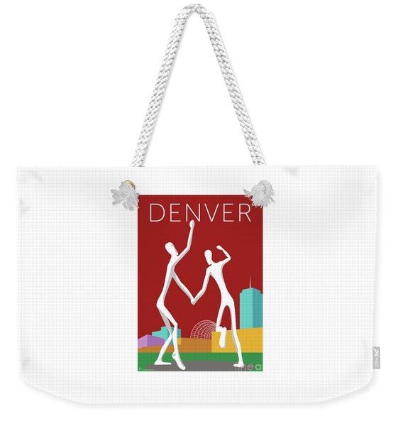 Weekender Tote Bag featuring the digital art Denver Dancers/maroon by Sam Brennan
