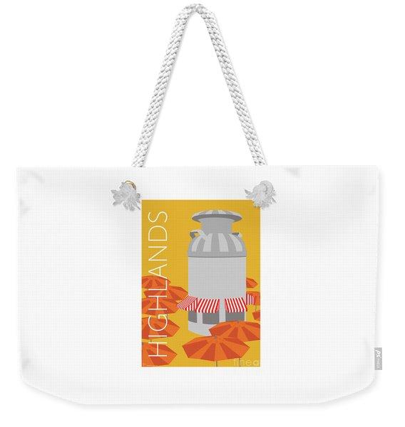 Weekender Tote Bag featuring the digital art Denver Highlands/gold by Sam Brennan