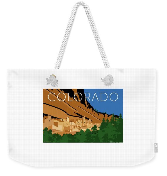 Weekender Tote Bag featuring the digital art Mesa Verde Blue by Sam Brennan