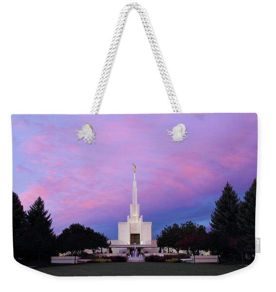 Denver Lds Temple At Sunrise Weekender Tote Bag