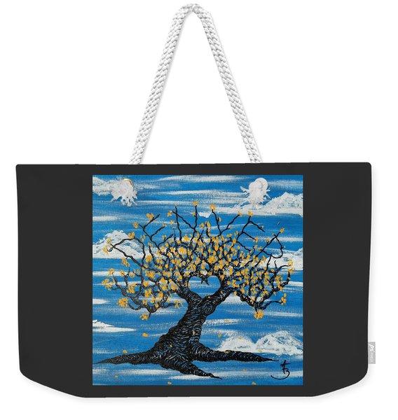 Weekender Tote Bag featuring the drawing Denver Love Tree by Aaron Bombalicki