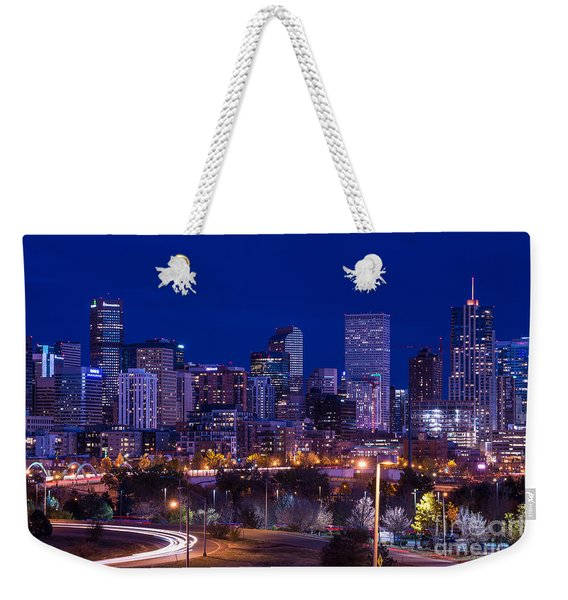 Denver Skyline At Night - Colorado Weekender Tote Bag