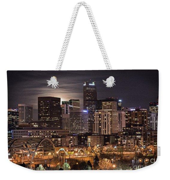 Denver Skyline At Night Weekender Tote Bag