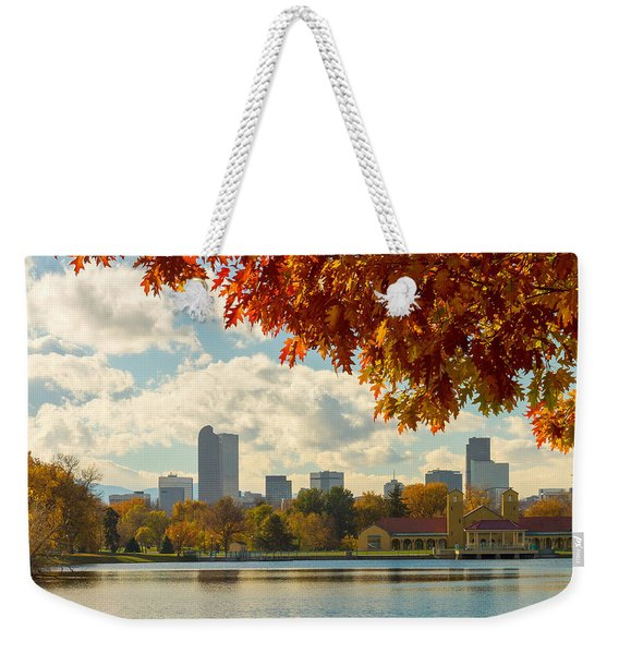 Denver Skyline Fall Foliage View Weekender Tote Bag