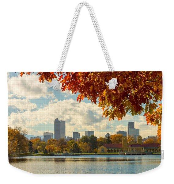 Denver Skyline Fall Foliage View Weekender Tote Bag