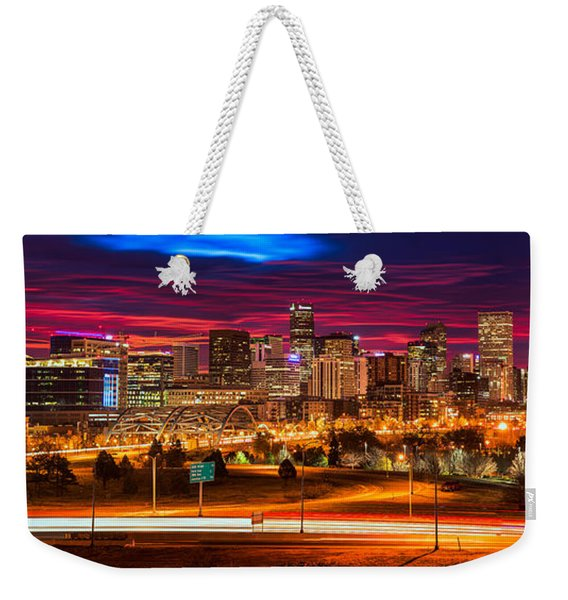 Denver Skyline Sunrise Weekender Tote Bag