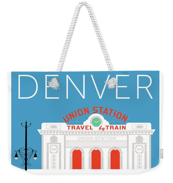 Weekender Tote Bag featuring the digital art Denver Union Station/blue by Sam Brennan