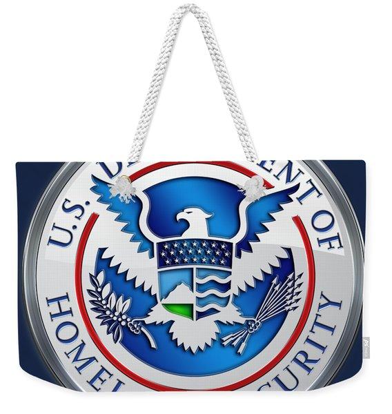 Department Of Homeland Security - D H S Emblem On Blue Velvet Weekender Tote Bag