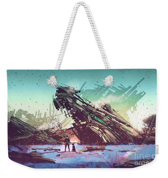 Weekender Tote Bag featuring the painting Derelict Ship by Tithi Luadthong