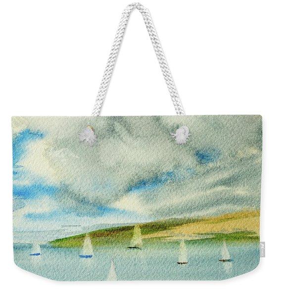 Dark Clouds Threaten Derwent River Sailing Fleet Weekender Tote Bag
