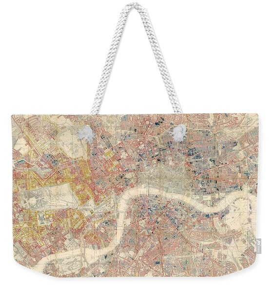 Descriptive Map Of London Poverty - Data Visualization Map - Map Of London - Historic Map Weekender Tote Bag