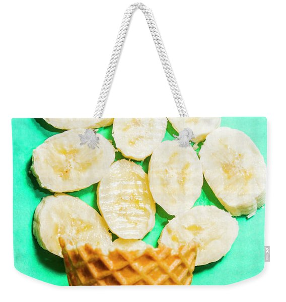Dessert Concept Of Ice-cream Cone And Banana Slices Weekender Tote Bag