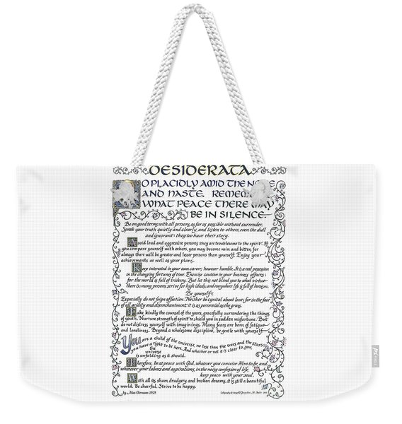 Desiderata-blue Weekender Tote Bag