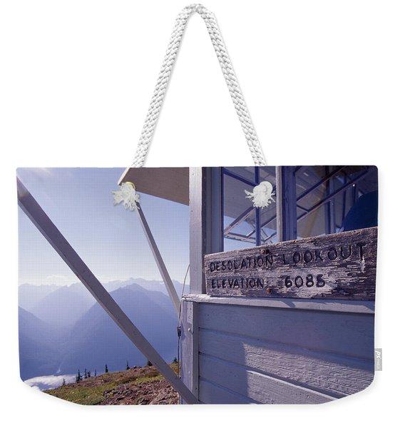 Desolation Peak Fire Lookout Cabin Sign Weekender Tote Bag