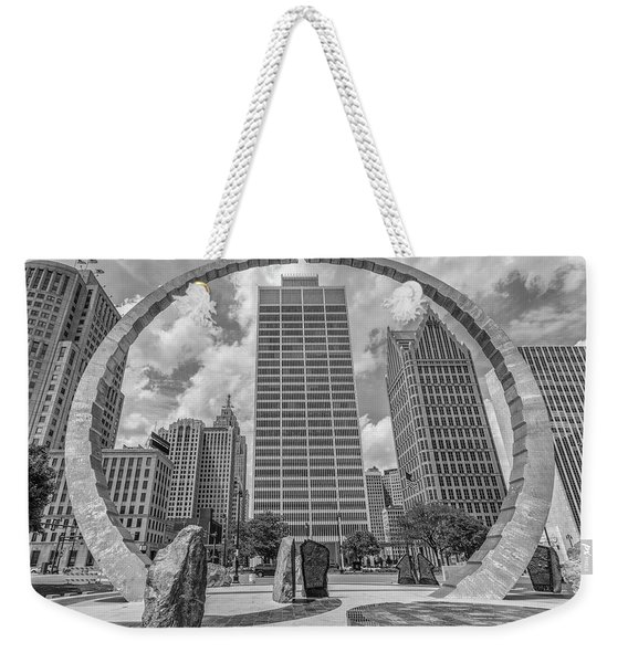 Detroit Hart Plaza And Cityscape  Weekender Tote Bag