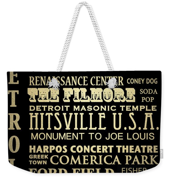 Detroit Michigan Famous Landmarks Weekender Tote Bag