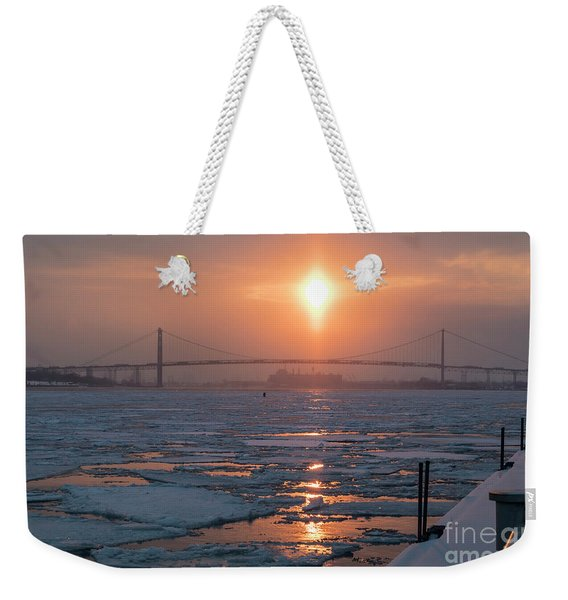 Detroit River Sunset Weekender Tote Bag