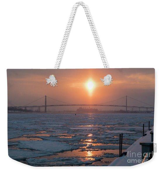 Detroit River Sunset Weekender Tote Bag