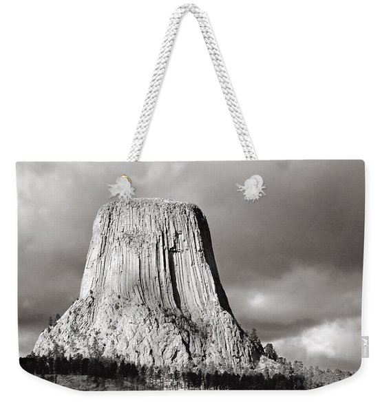 Devil's Tower Black And White Weekender Tote Bag