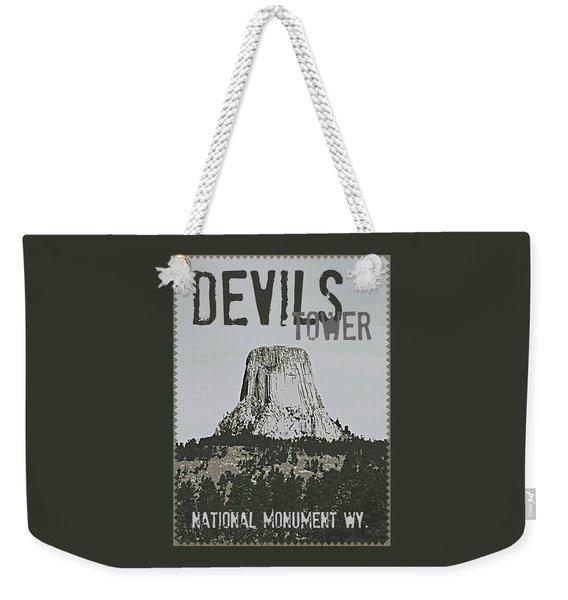 Devils Tower Stamp Weekender Tote Bag